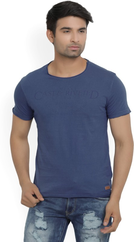 LP Jeans by Louis Philippe Printed Mens Round Neck Blue T-Shirt
