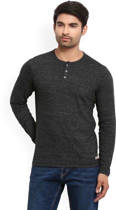 LP Jeans by Louis Philippe Self Design Mens Henley Grey T-Shirt