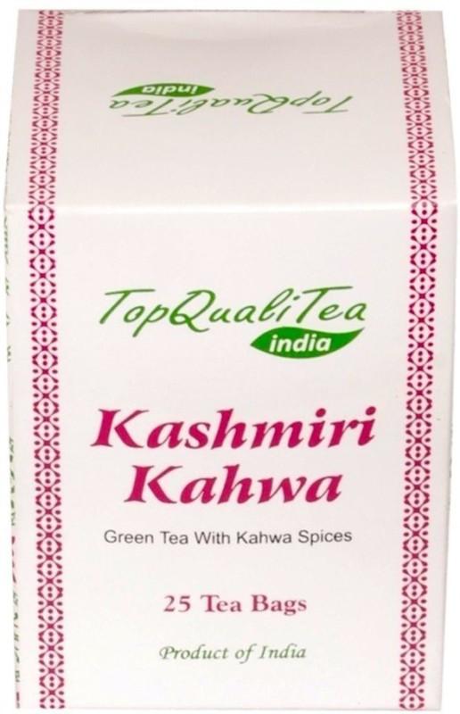 TopQualiTea Kashmiri Kahwa Green Tea (25 Tea Bags) Spices Green Tea Bags(50 g, Pouch)