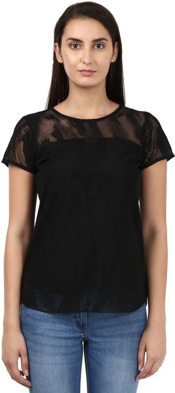 Park Avenue Casual Half Sleeve Solid Women's Black Top