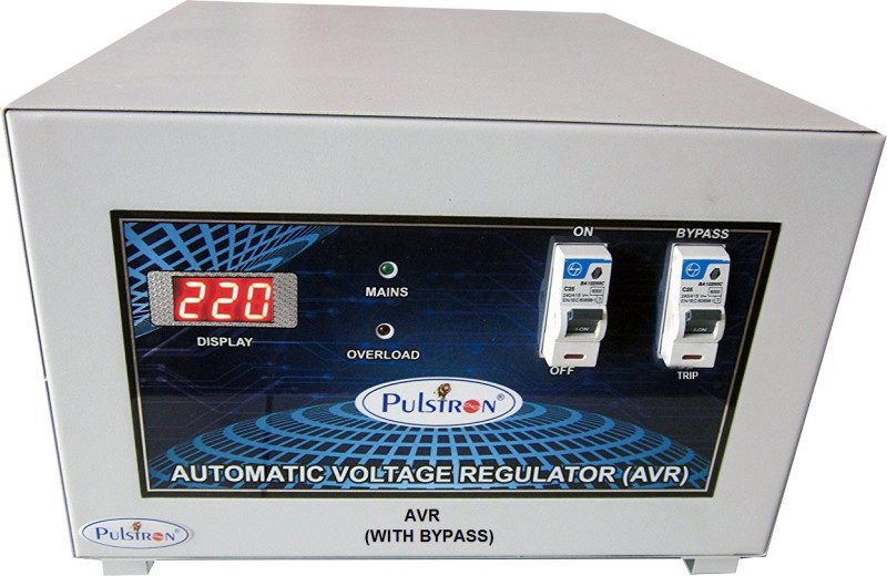 PULSTRON PTI-2095B 2 KVA (90V-290V) Single Phase With Bypass Automatic Voltage Stabilizer for Mainline(Light Grey)