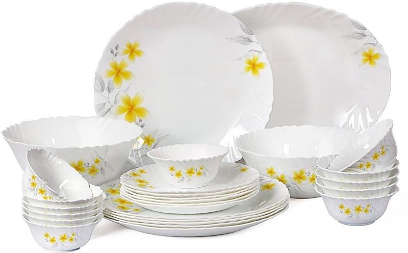 Cello present IMPERIAL Frangipani Dinner Set of 27 pcs {{Dinner plate 11(6 pcs) || Quarter plate (6 pcs) || Oval platter (1 Pcs) || Veg bowl (6 Pcs) || Soup Bowl (6 pcs) || Serving bowl medium (2 Pcs)}} Pack of 27 Dinner Set(Opalware)