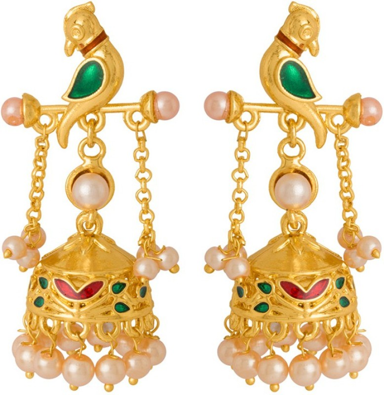 Voylla Gold Plated Bird Motif and Pearl Earring from Vyoma Pride Pearl Alloy Jhumki Earring