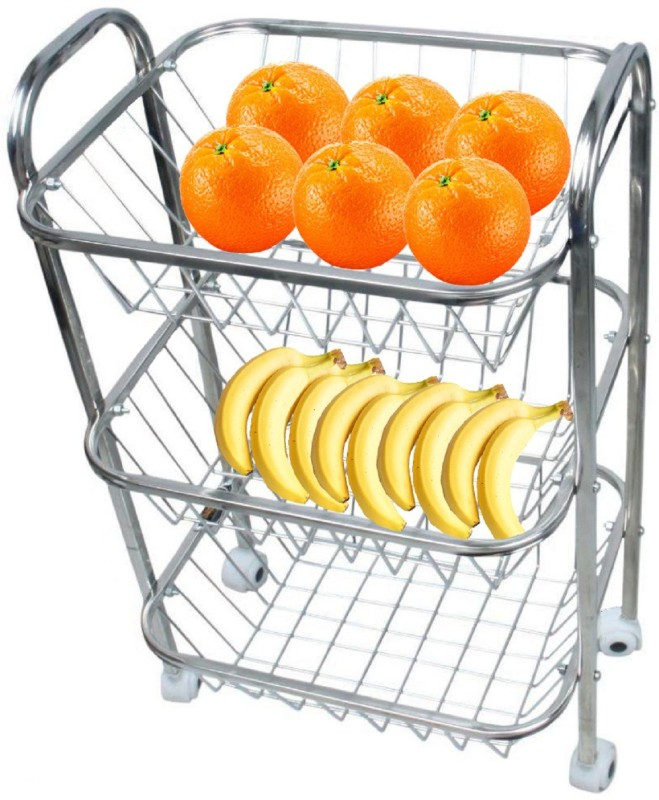 Kuber Industries Stainless Steel Three Tier Fruits & Vegetable Trolley/Multipurpose kitchen storage shelf Rack/Basket with Four Wheel (Set of 1 Pc) Code-Frt03 Steel Kitchen Trolley