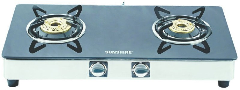 Sunshine Stainless Steel, Glass Manual Gas Stove(2 Burners)