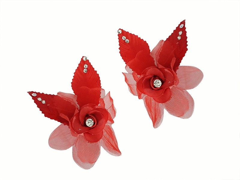 AASA Party wear Rose Hair Clip | Bridal Rose Hair Clip for Girls & Women (2 Pcs) Hair Clip, Hair Accessory Set(Red)