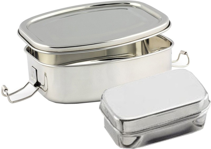 Kuber Industries Stainless Steel Rectangular Shape Lunch Box | School Lunch Box Set of 1 Pc Code-STLN12 1 Containers Lunch Box(500 ml)