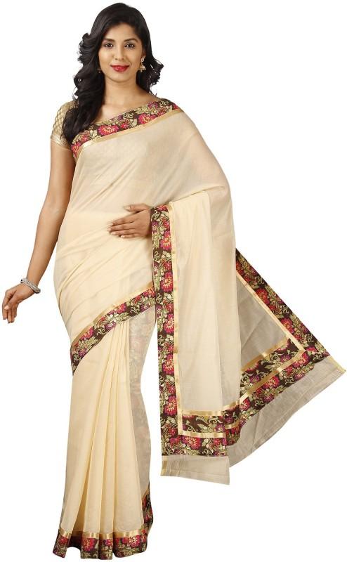 Pavechas Solid Banarasi Banarasi Silk Saree(Beige)