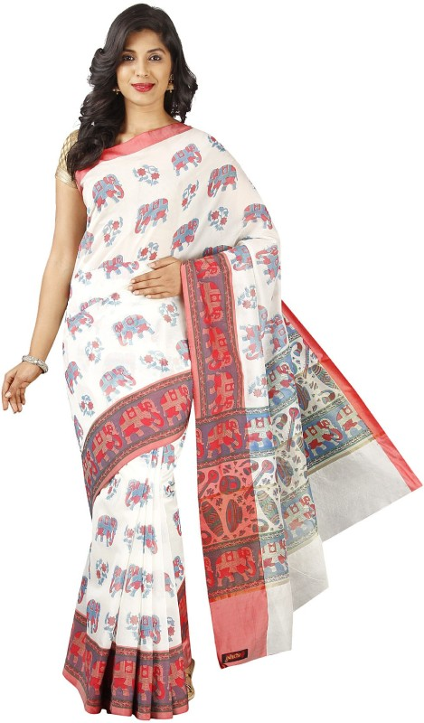 Pavechas Graphic Print Fashion Silk Cotton Blend Saree(White)