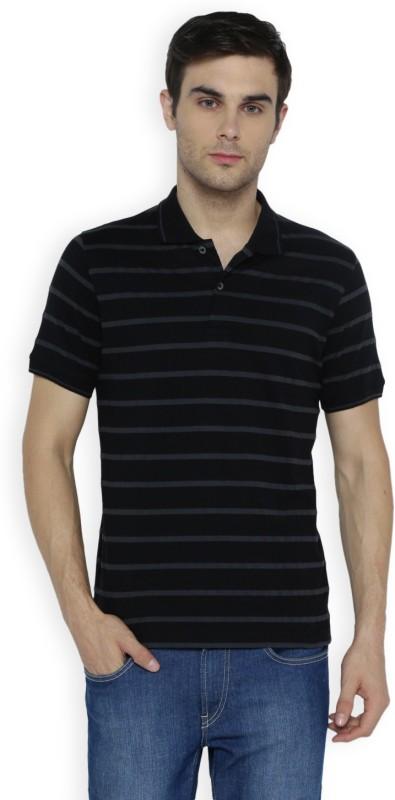 Van Heusen Striped Men Polo Neck Black T-Shirt