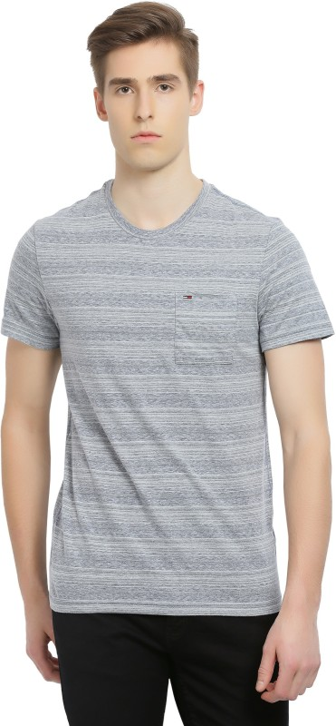 Tommy Hilfiger Striped Mens Round Neck Grey T-Shirt
