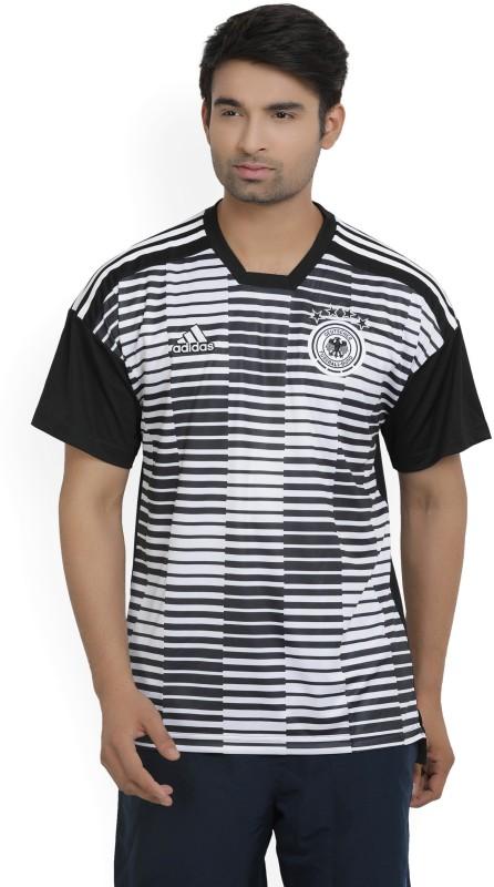 ADIDAS Germany Striped Men Round Neck Black, White T-Shirt