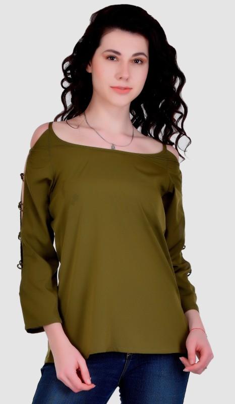 VAANYA Casual 3/4th Sleeve Solid Women's Green Top
