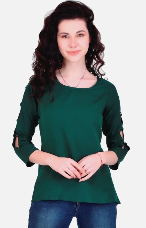 VAANYA Casual 3/4th Sleeve Solid Women's Dark Green Top