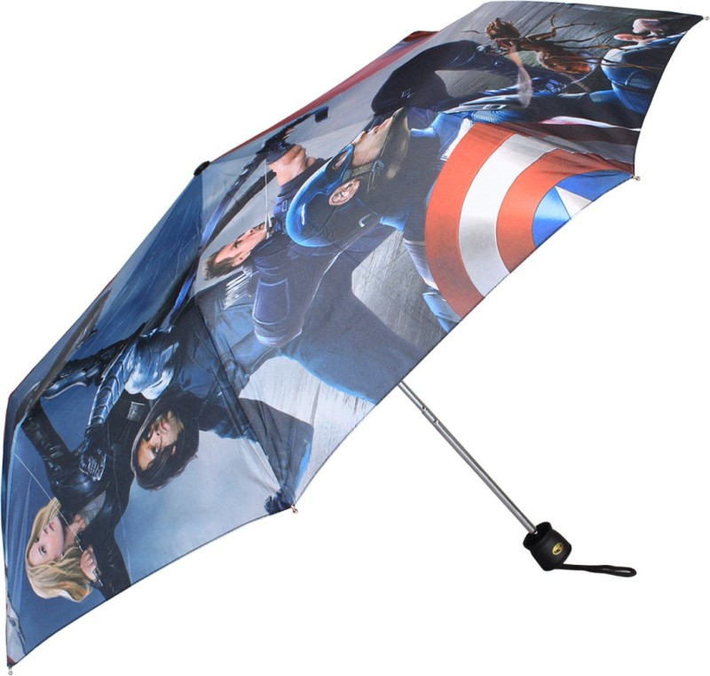 Johns Avenger Series 545mm 3 Fold premium printed blue and red Umbrella(Red, Blue)