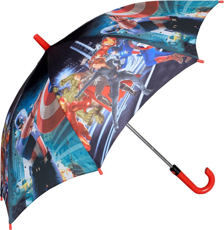 Johns Avenger Series 500mm Straight Fold auto open premium printed blue and red Kids Umbrella(Blue)