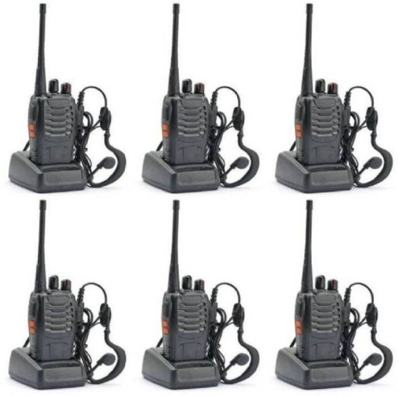 Mezire 888S BAOFENG Wire Less Phone Walkie Talkie UHF 400-470MHz 16CH CTCSS/DCS Handheld Amateur Radio 2 Way Radio Long Range, Black (6 Pack) Walkie Talkie(Black)