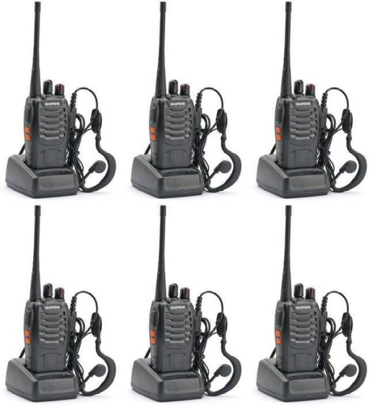Mezire Baofeng Bf-888S 4 Baofeng BF-888S UHF 400-470MHz 16CH CTCSS/DCS With Earpiece Handheld Amateur Radio Walkie Talkie 2 Walkie Talkie(Black)