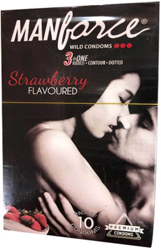 Manforce Strawberry Flavoured (Pack of 10) Condom(Set of 10, 1S)