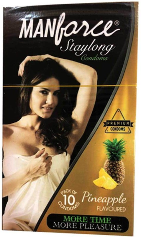 Manforce Pine Apple Flavoured Premium stay long condoms More time & More pleasure ( pack of 10) Condom(Set of 10, 1S)