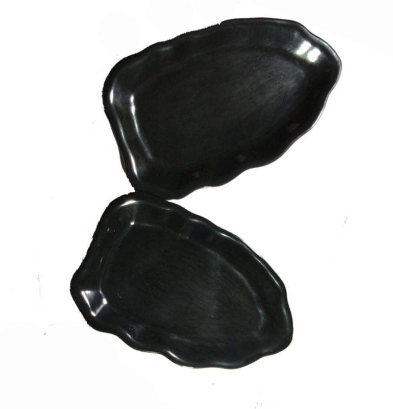 Decornt Melamine Medium Decorative Pan Shape Serving Platter For Salad Rice Dry Items Food Kitchen 13.5 x 8.5 Inches Set of 2 - Black Tray Set