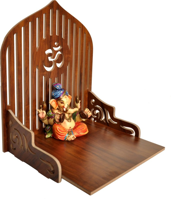 7CR OM Shine-2127 Solid Wood Home Temple(Height: 35 cm)