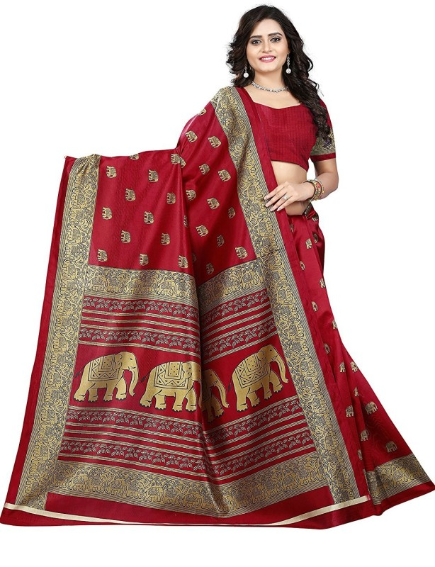 Ratnavati Animal Print Daily Wear Art Silk Saree(Red)