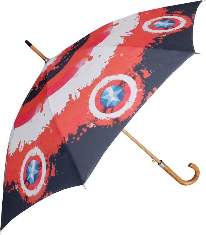 Johns 610mm Woodking Auto Open Marvel Avengers Captain America Shield design Umbrella(Red)