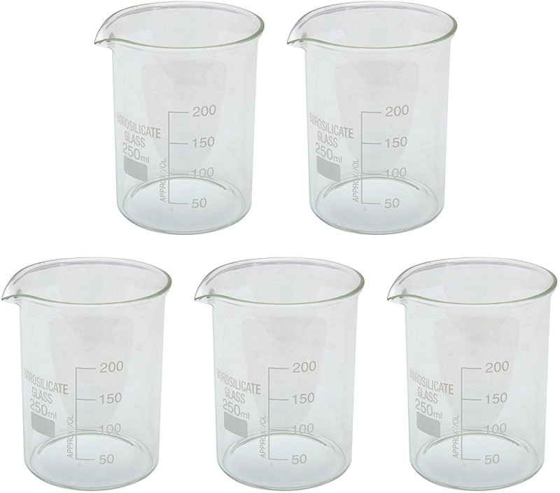 Parshv 250 ml Flat Beaker(Pack of 5)