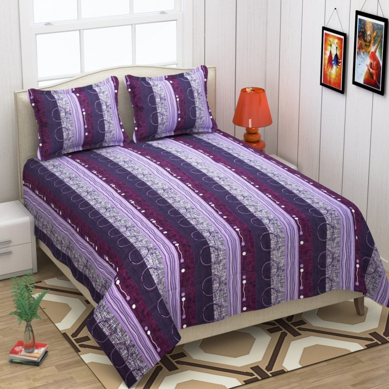 The Intellect Bazaar 152 TC Cotton Double Geometric Bedsheet(1 Double Bedsheet with 2 Pillow Covers, Purple)