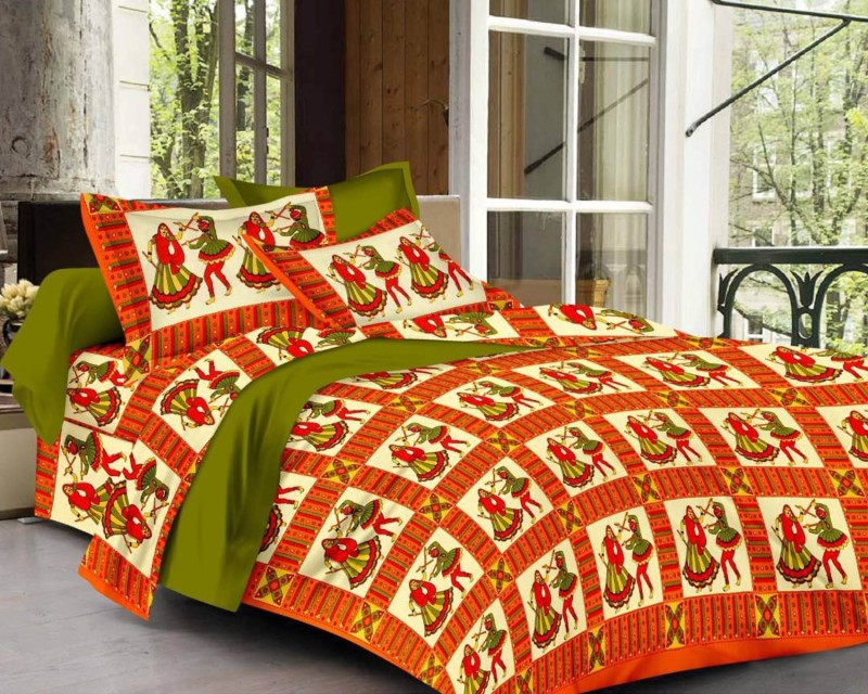 Shreejee Cotton Double Printed Bedsheet(Pack of 1, Red)