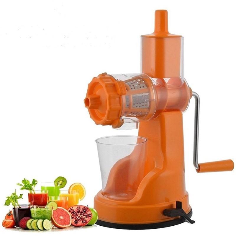 konvex Fruit & Vegetable Steel Handle Juicer with Vaccum Locking System Pink Plastic Hand Juicer(Orange)