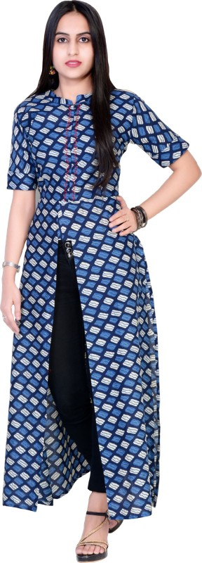 DEEBA Casual Block Print Women Kurti(Blue)