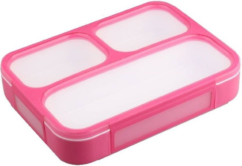 Tuelip Plastic Grid Lunch Box With 3 in 1 Slots and Spoon Innovative And Durable Pink (500 ml) 3 Containers Lunch Box(500 ml)