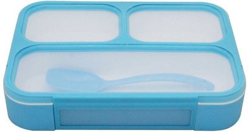 Tuelip Plastic Grid Lunch Box With 3 in 1 Slots and Spoon Innovative And Durable Blue (500 ml) 3 Containers Lunch Box(500 ml)