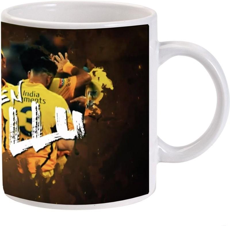 MUGKIN S02 Chennai super kings ( Csk ) - Ms Dhoni, Suresh Raina and Dwayne Bravo Ceramic Mug(350 ml)