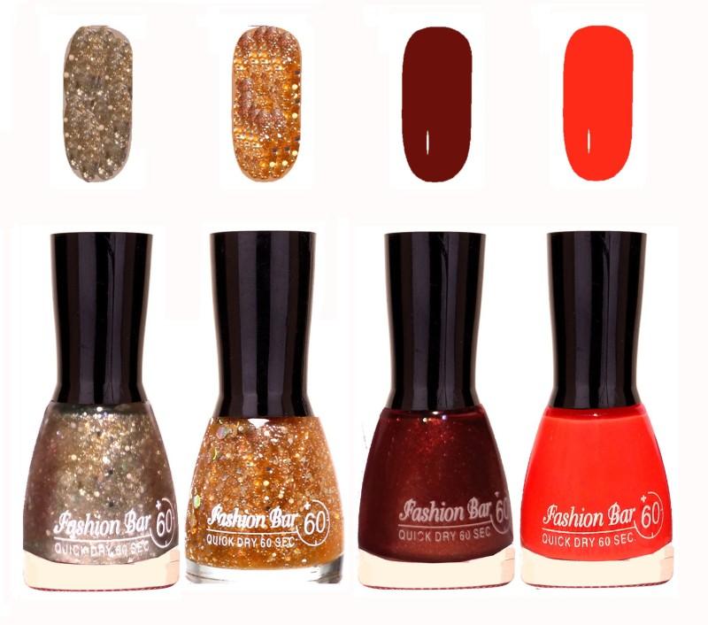 Fashion Bar Quick Dry 60 Sec Nail polish Set Silver Jari,Golden Jari,Maroon Jari,Orange(36 ml, Pack of 4)