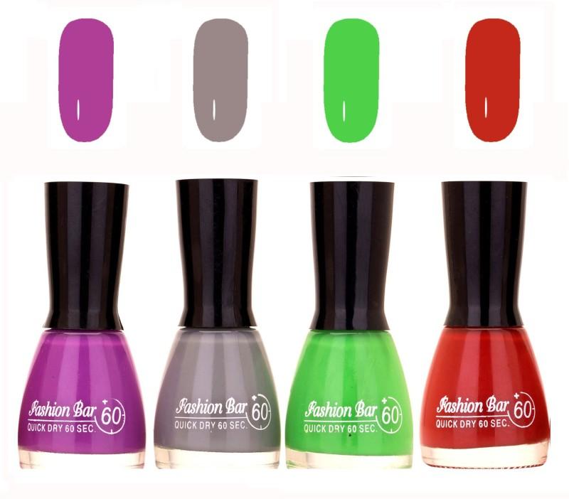 Fashion Bar Quick Dry 60 Sec Nail polish Set Violet Purple,Grey,Parrot Green,Rich Brown(36 ml, Pack of 4)