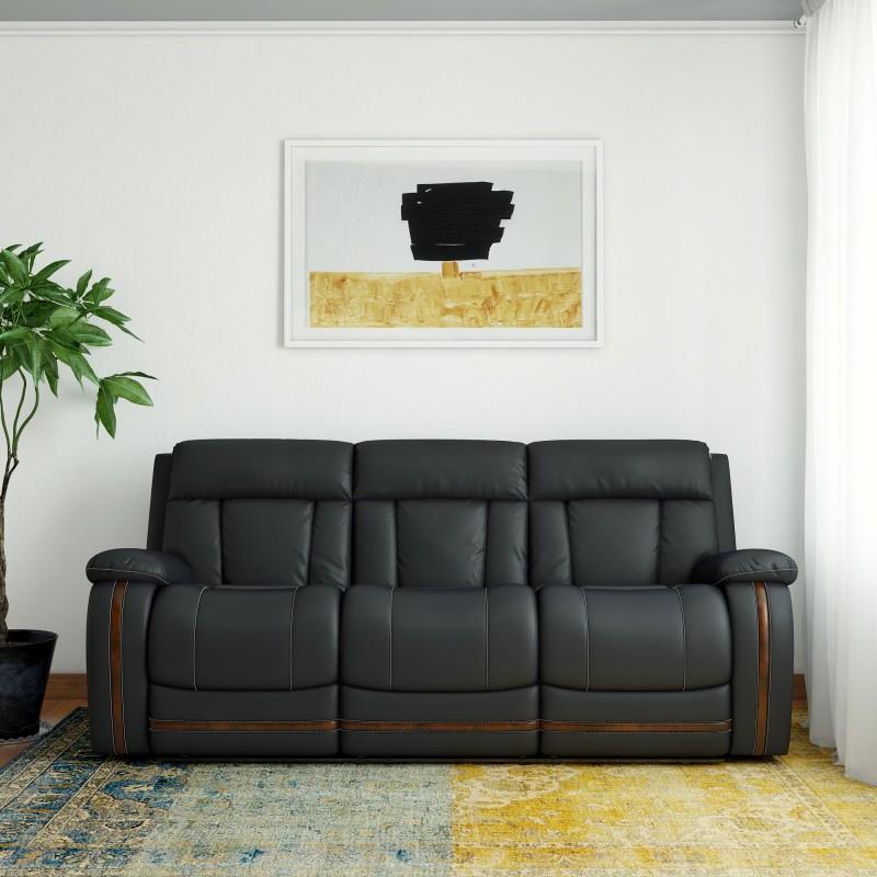 RoyalOak Leather Manual Recliners(Finish Color - Black)