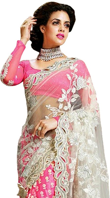 IndianEfashion Self Design, Embroidered Bollywood Georgette, Net Saree(Pink)