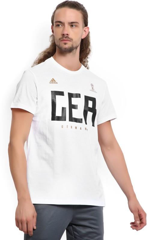 ADIDAS GERMANY Printed Men's Round Neck White T-Shirt