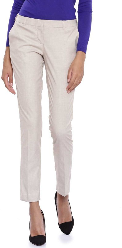 Arrow Woman Slim Fit Women Beige Trousers