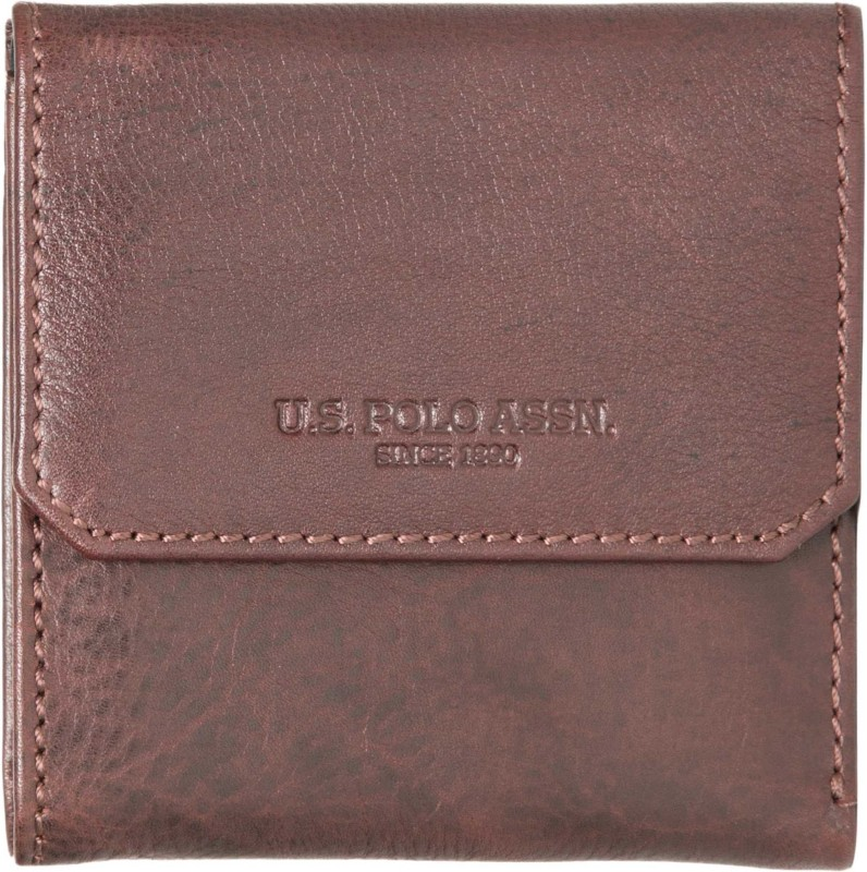 U.S. Polo Assn Men Brown Genuine Leather Wallet(3 Card Slots)