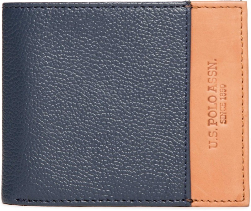 U.S. Polo Assn Men Blue Genuine Leather Wallet(6 Card Slots)