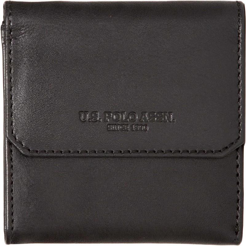 U.S. Polo Assn Men Black Genuine Leather Wallet(3 Card Slots)