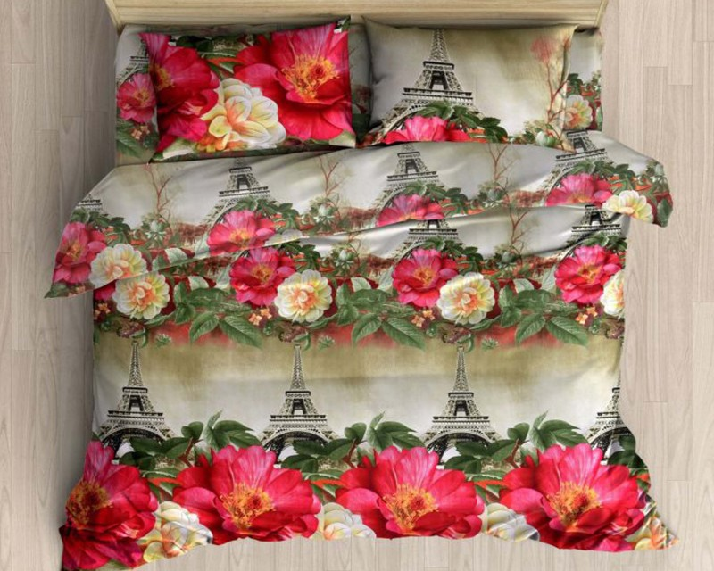 Little Joy 140 TC Polycotton Double Floral Bedsheet(1 Bedsheet, 2 Pillow Covers, Multicolor)