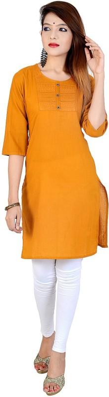 Chichi Women's Embroidered, Solid Straight Kurta(Yellow)