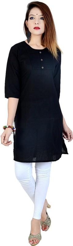 Chichi Women's Embroidered, Solid Straight Kurta(Black)