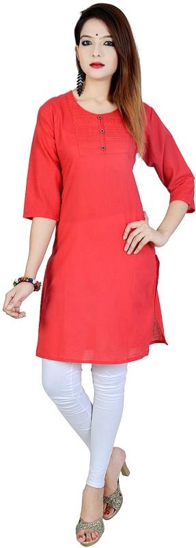 Chichi Women's Embroidered, Solid Straight Kurta(Red)