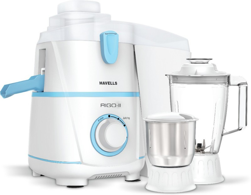 Havells GHFJMBUW050 500 Juicer Mixer Grinder(White and Blue, 2 Jars)